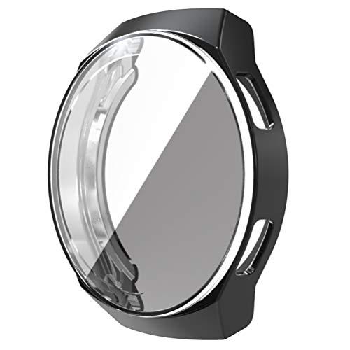 NICERIO Smart Watch Protector Full Cover TPU Stoßstange Gehäuse Rahmen Shell Displayschutz Smartwatch Zubehör Kompatibel für Huawei Watch GT 2E (Schwarz)