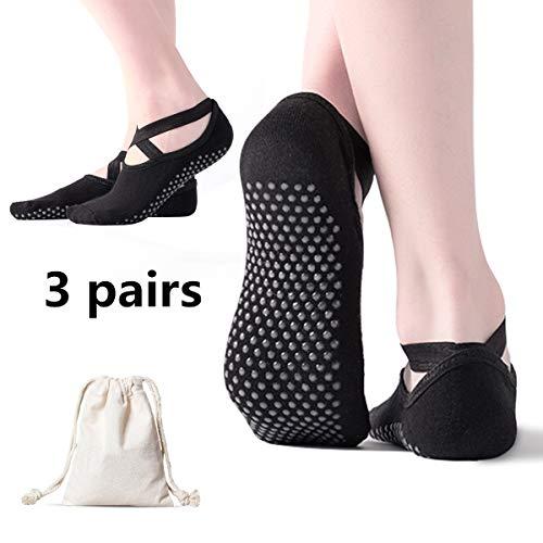 AmazeFan rutschfeste Yoga Socken für Damen, Ideal für Pilates, Outdoor Sport Workout Strümpfe mit rutschfesten Noppen Schwarz 3 Stück