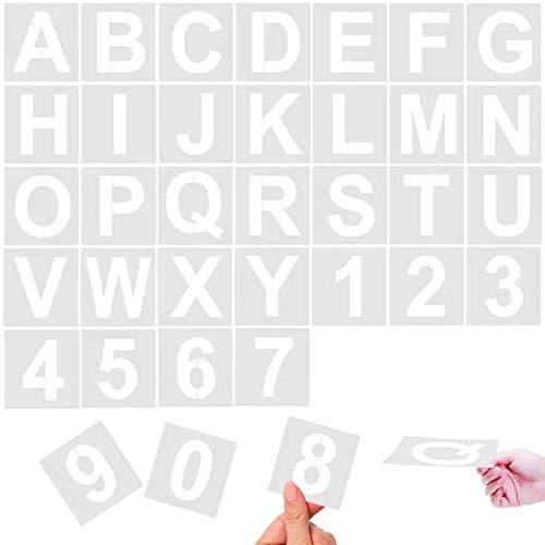 Maxure 36 Stück Alphabet-Buchstaben-Schablonen, 12,7 cm, wiederverwendbare Kunststoff-Schablonen für Holz, Wand, Kreidetafel, Malen, Lernen, Heimdekoration, DIY-Schulkunstprojekte