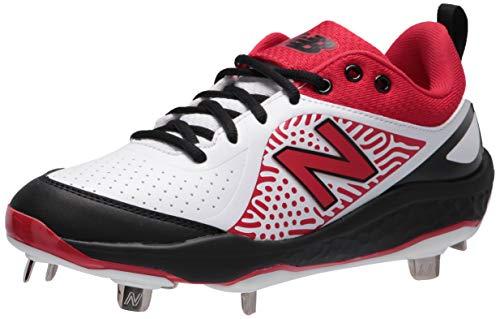 New Balance Women's Fresh Foam Velo V2 Metal Softball Shoe, Black/Red/White, 8