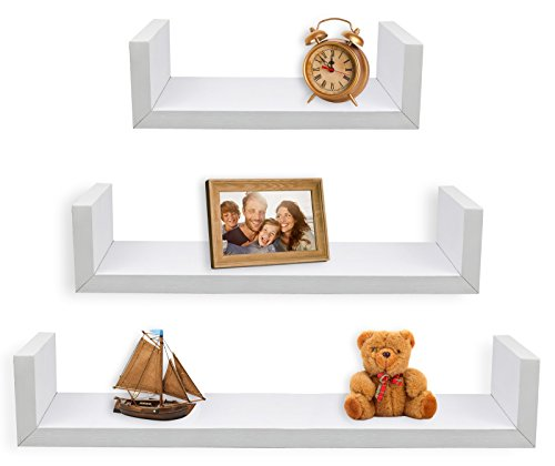 Greenco Set of 3 Floating U Shelves White Finish