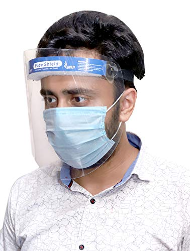 Welit Safety Rotational Moveable Face Shield with Adjustable Elastic Strap Anti-Splash Protective Transparent 550 Micron Cover Full Face Protection for Men & Women - Pack of 1