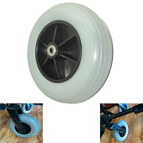 Wheelchair Caster Assembly, Front Caster in Gray, 8' x 2', Solid, for Jazzy, Quantum, and Jet Powerchairs Power Wheelchair's and Most Brands Wheel Replacement(200x50)