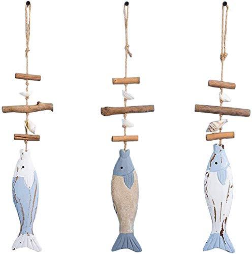 Boyigog 3 Pcs Decoración Colgante de Peces de Madera, Decoración de Madera Huesos de Pescado con Cuentas, para Decorar La Decoración del Hogar Decoración de Pared con Tema de Playa Náutica