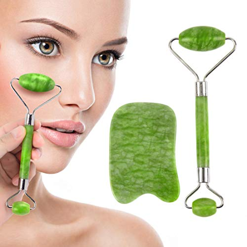 Jade Roller and Gua Sha Scraping Tool, Face Eye Neck Anti Aging Facial Therapy, Natural Stone100% No Squeaks-Jade Facial Roller And Gua Sha Set