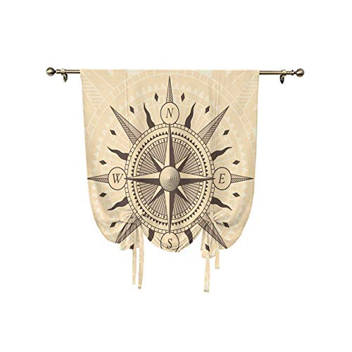 Compass Roman Curtain,Vintage Exploration Windrose Design with Tan Background Abstract Elements Theme Decorative Thermal Insulated Blackout Curtain,39x47 Inch,for Small Window Single Rod Pocket Tan Ta