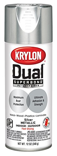 Krylon K08846007 'Dual' Superbond Paint and Primer Metallic Finish, Silver, 12 Ounce