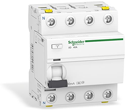 Schneider Electric A9Z21440 Acti 9 iID RCCB, Type A, 4P, 40A, 30mA, 73mm x 72mm x 91mm, Blanco