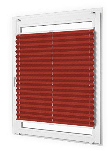 Sun World Plissee nach Maß, Klemmfix, ohne Bohren, deutsche Wertarbeit, 25 Farben (Farbe: Bordeaux Rot, Höhe: 131-140cm, Breite: 61-70cm)