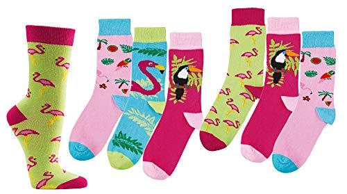 FussFreunde Kinder Öko Socken 6 Paar für Jungen/Mädchen,Schadstoffgeprüft, in vielen Mustern (Flamingos, 35/38 = 9-10 Jahre)