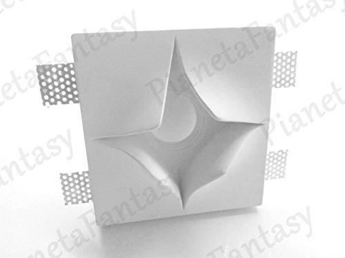 Porte spot en plâtre céramique à démoulage étoile PF20 + Douille GU 10 pour ampoules LED