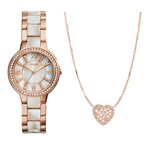 Fossil Women's Virginia Quartz Stainless Steel Horn Acetate Dress Watch, Rose Gold (Model: ES3716) & Fossil Women's Mosaic Heart Rose Gold-Tone Stainless Steel Necklace
