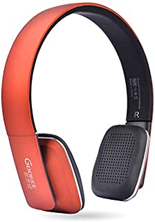 Bluetooth Headphones Over Ear Foldable Headphones, Stereo Wireless Headset Soft Leather Earmuffs Built-In Mic for PC/Cell Phones/TV,Orange