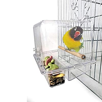 Cikonielf No Mess Bird Feeder Acrylic Bird Cage Feeder Parrots Food Feeding Station Bird Bathtub Parrots Bathing Tub Bath Box(Food Bowl) from Cikonielf