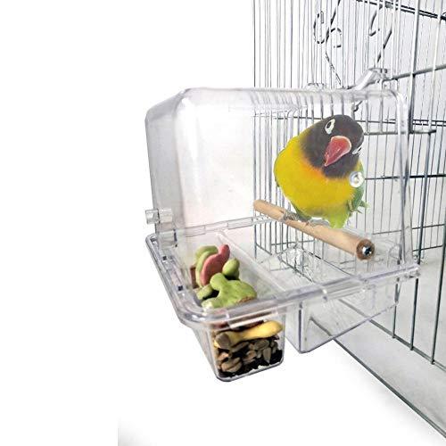 バードフィーダー バード食器 インコ 餌入れ 多機能 鳥給餌器 バードバス 透明 止まり木 清潔 取り付け簡単 フック付き(#2)
