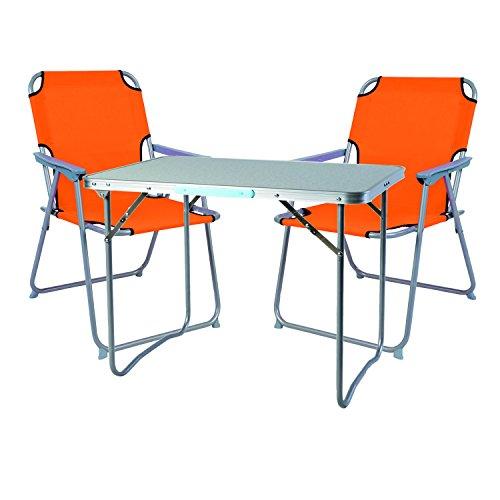 Mojawo Ensemble de Meubles de Camping en Aluminium Camping L70 x B50 x H59 cm 1 x Table de Camping avec poignée + 2 chaises Orange Plastique Oxford