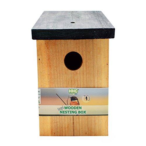 1 x Handy Home and Garden Druckbehandelter Hölzerner Wildvogelhaus-Standardholz-Nistkasten - Natürliche Vogelnistkästen