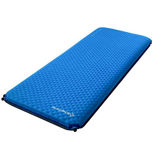 KingCamp Camping Sleeping Pad Foam Mat Mattress - Deluxe Wide Self Inflating 4 inches Thick Pad with Carry Bag, Suitable for Family Outdoor Activities (Blue-Deluxe Wide)