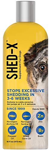 Shed-X Dermaplex Liquid Daily Supplement for Dogs – 100% Natural – Eliminate Excessive Shedding with Daily Supplement of Essential Fatty Acids, Vitamins and Minerals (16 oz)