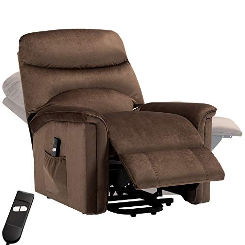 Bonzy Home Recliner New Electric Powered Lift Recliner Chair with Remote Control - Home Theater Seating - Bedroom & Living Room Chair Recliner Sofa for Elderly (Brown D145)