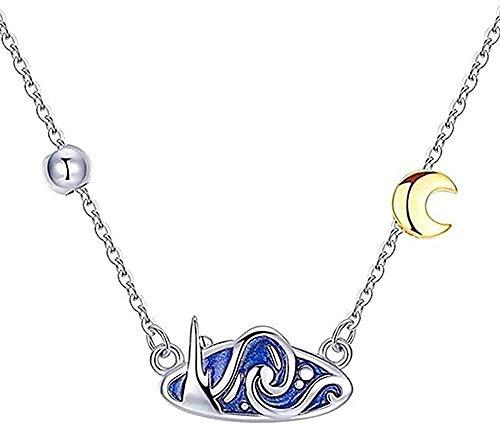 LKLFC Collar Boho Vintage Blue Drop Gle Starry Sky Golden Moon Colgante Collar para Mujeres Niñas Declaración de Regalo Colgante Collar Regalo para Mujeres Hombres Niñas Niños