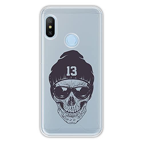 Hapdey Funda rígida para [ Xiaomi Mi A2 Lite - Redmi 6 Pro ] diseño [ Cráneo Hipster 1 ] Carcasa TPU, Transparente