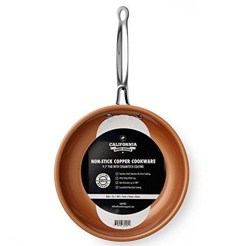 "9.5"" Non-Stick Ceramic Frying Pan, Oven Safe Copper Frying Pan, Dishwasher Safe, Scratch Proof, Ceramic Titanium Blend, Copper Colored"