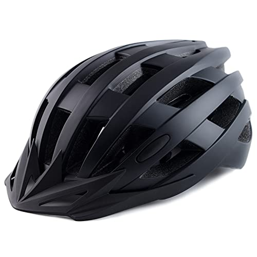 Adult Bike Helmets, Adjustable Mens Womens Bicycle Helmet, Lightweight Road Mountain Cycling Safety Sports Helmets with Detachable Visor Black