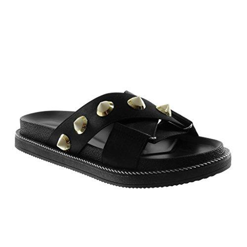 Angkorly - dames schoenen Mule sandalen - slip-on - klinknagels - bezet - gekruiste riem - ritssluiting platte hiel 3 cm