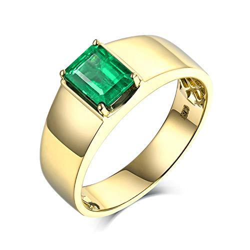 AnazoZ Anillos Esmeralda Hombre,Anillos Oro Amarillo Compromiso 18 Kilates Oro Verde Rectángulo Esmeralda Verde 1.39ct Talla 17