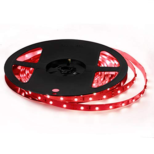 Signcomplex 16.4ft LED Flexible Strip Lights 300 Units SMD3528 LED 12V DC Led Tape Light for DIY Christmas Lights Party Kitchen Bedroom Decoration -Red,UL Listed