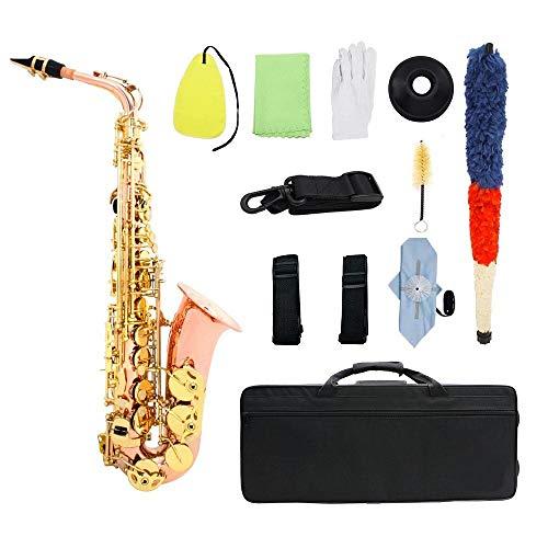 Fósforo de saxofón alto de cobre con funda de transporte, guantes, gamuza de limpieza, correa de saxo, silencio, de doble color