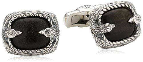 Baldessarini Herren-Manschettenknöpfe 925 Sterling Silber rhodiniert schwarz