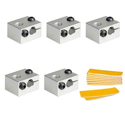 PChero 5pcs V6 Aluminium Heizblock mit 10pcs Baumwolle Isolierung Ersatz für 3D Drucker V6 Hotend