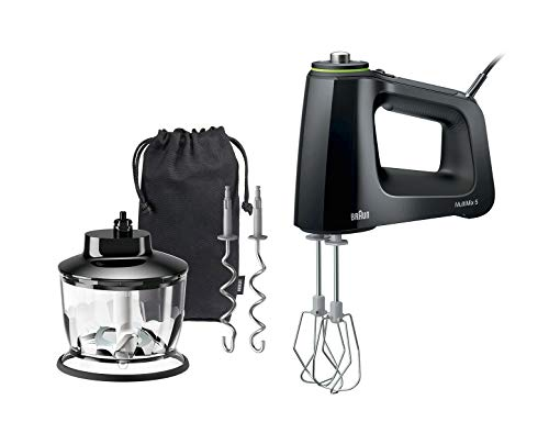 Braun Electric Hand Mixer, 9-Speed, 350W, Lightweight with Soft Anti-Slip Handle, Accessories to Beat & Whisk (Multi-Whisk), Dough Hooks to Knead & 2-Cup Chopper + Storage Bag, MultiMix 5, HM5130