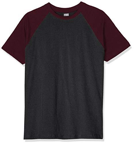Urban Classics Raglan Contrast tee Camiseta, Multicolor (Charcoal/Redwine 02252), XXX-Large para Hombre