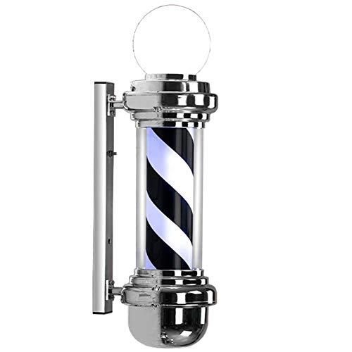 68cm LED Poste de Barbero Profesional,Peluquería Firmar Barbería Lámpara,Lámpara de Luz Giratoria de Rayas Blanco Negro Al Aire Libre luz de Pared