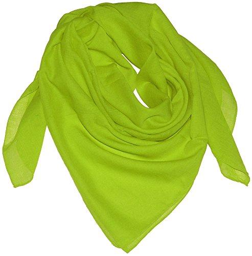 Harrys-Collection Damen Herren Baumwolltuch in vielen Farben 100 x 100 cm, Farben:apfelgrün, Größen:Einheitsgröße
