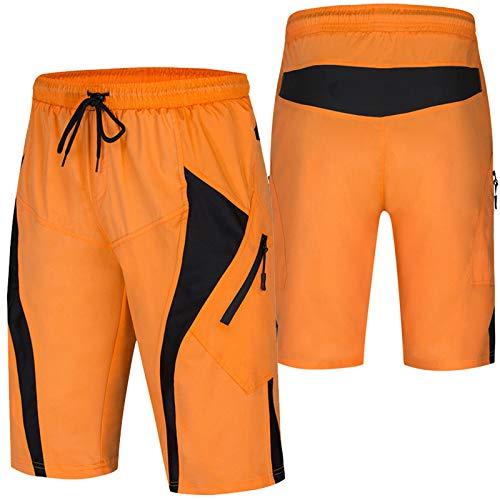 Culotte Ciclismo Hombre,Acolchado Transpirable Cómodo Pantalones Cortos de Ciclismo,Impermeable Culotes Ciclismo Hombre, para Correr Deportes al Aire Libre Pantalon Mountain (Size:XXL,Color:Naranja)