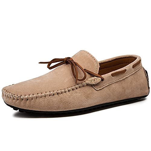Hoxekle Men Casual Lightweight Walking Shoe Comfortable Breathable Driving Moccasins Leather Slip On Loafer Khaki