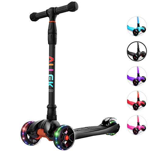 Allek Kick Scooter B02 Lean #039N Glide Scooter with Extra Wide PU LightUp Wheels and 4 Adjustable Heights for Children from 312yrs Black