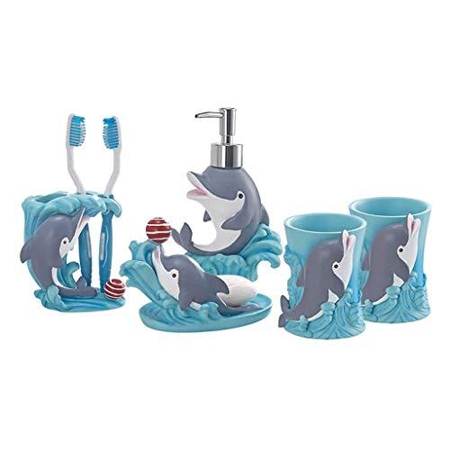 Despachador de Jabón 5 piezas de accesorios de baño - decoración del hogar regalo del plato de jabón y dispensador de jabón titular del cepillo de dientes y Diseño Vaso Copa -Naturales Resina lindo Do