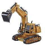IIIL 1:18 RC Excavadora Control Remoto 10 Canales 2,4 GHz, Full Funcional Profesional RC Batería Tractor Alcance Movimiento Pala Coche 680 ° Regalos para Niños Aficiones