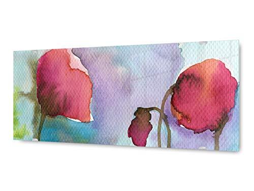 KD Dsign+ glasschilderij wandschilderij GLX12578553431 schilderij klaprozen 125 x 50 cm/incl. nieuw ophangsysteem