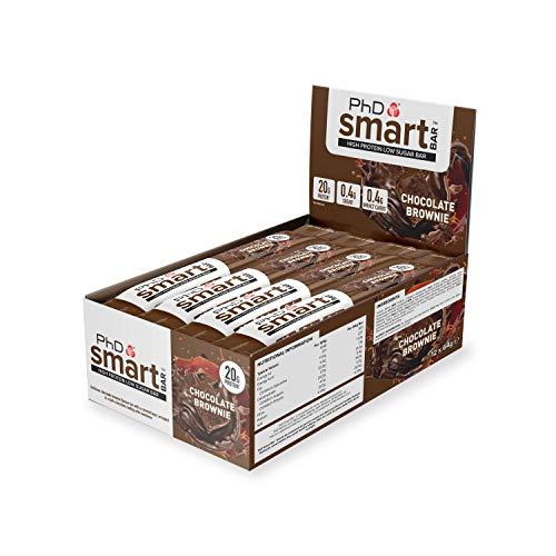 PhD Smart Bar, High Protein Low sugar chocolate coated snack (Dark Chocolate Brownie), 12 Bars