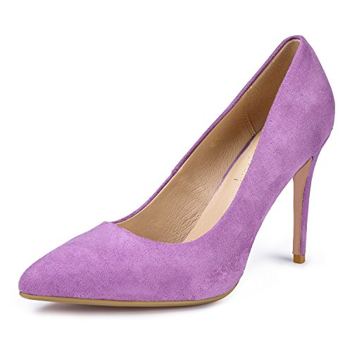 IDIFU Women's IN4 Classic Pointed Toe High Heels Pumps Wedding Dress Office Shoes (8.5 B(M) US, Lavender Suede)