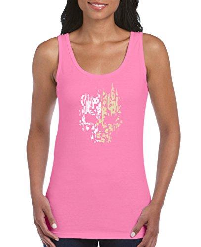 Comedy Shirts - Digital Skull - Damen Tank Top - Pink/Beige-Weiss Gr. XL