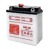 バイクバッテリー / 6N6-3B (GSユアサ 6N6-3B互換) 6V バイク用バッテリー 開放型(パリエ CB90-JX1 CB125 エルシノア125 XL250 90SS KC90 KE125 KL250) / 初期補充電済み SUPRE NATTO(スーパーナット)
