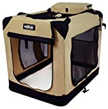 EliteField 3-Door Folding Soft Dog Crate, Indoor & Outdoor Pet Home, Multiple Sizes and Colors Available (30' L x 21' W x 24' H, Beige)