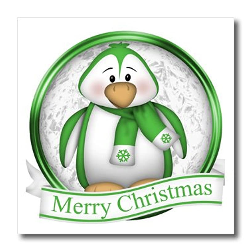 3dRose ht_217073_1 Cute Green and White Penguin with Merry Christmas Iron on Heat Transfer for White Material, 8